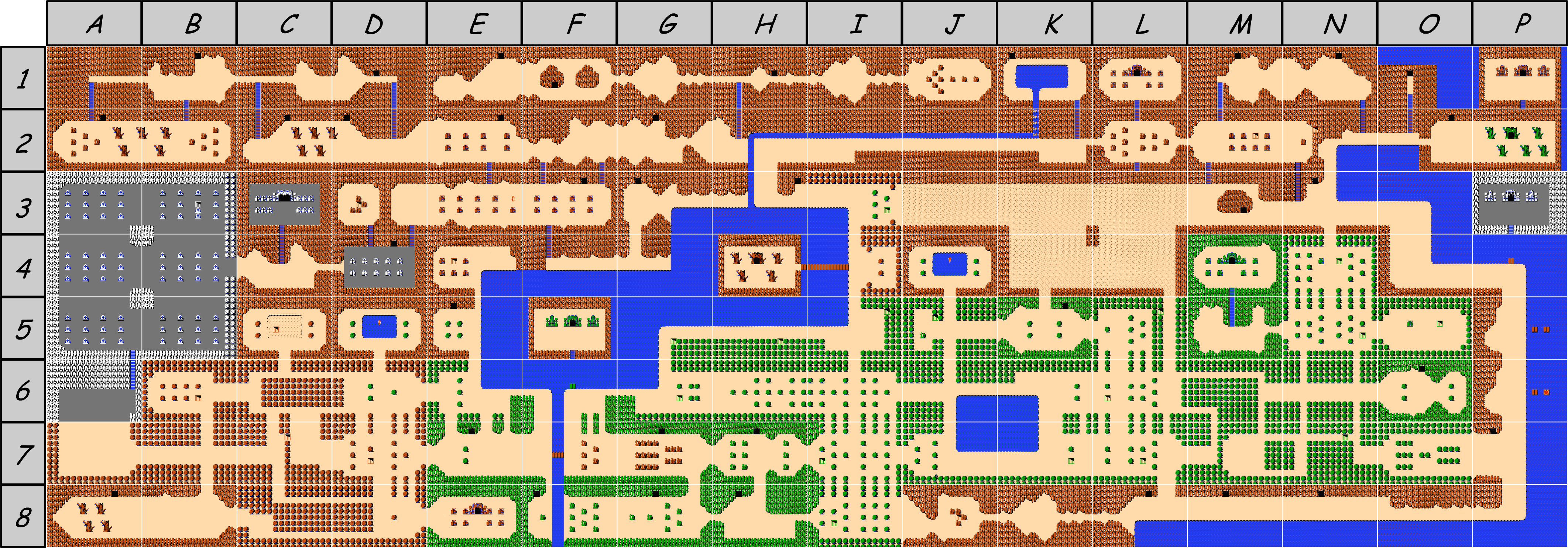 The legend of Zelda - Map of Overworld (Hyrule) of quest 1 (Zelda I ...