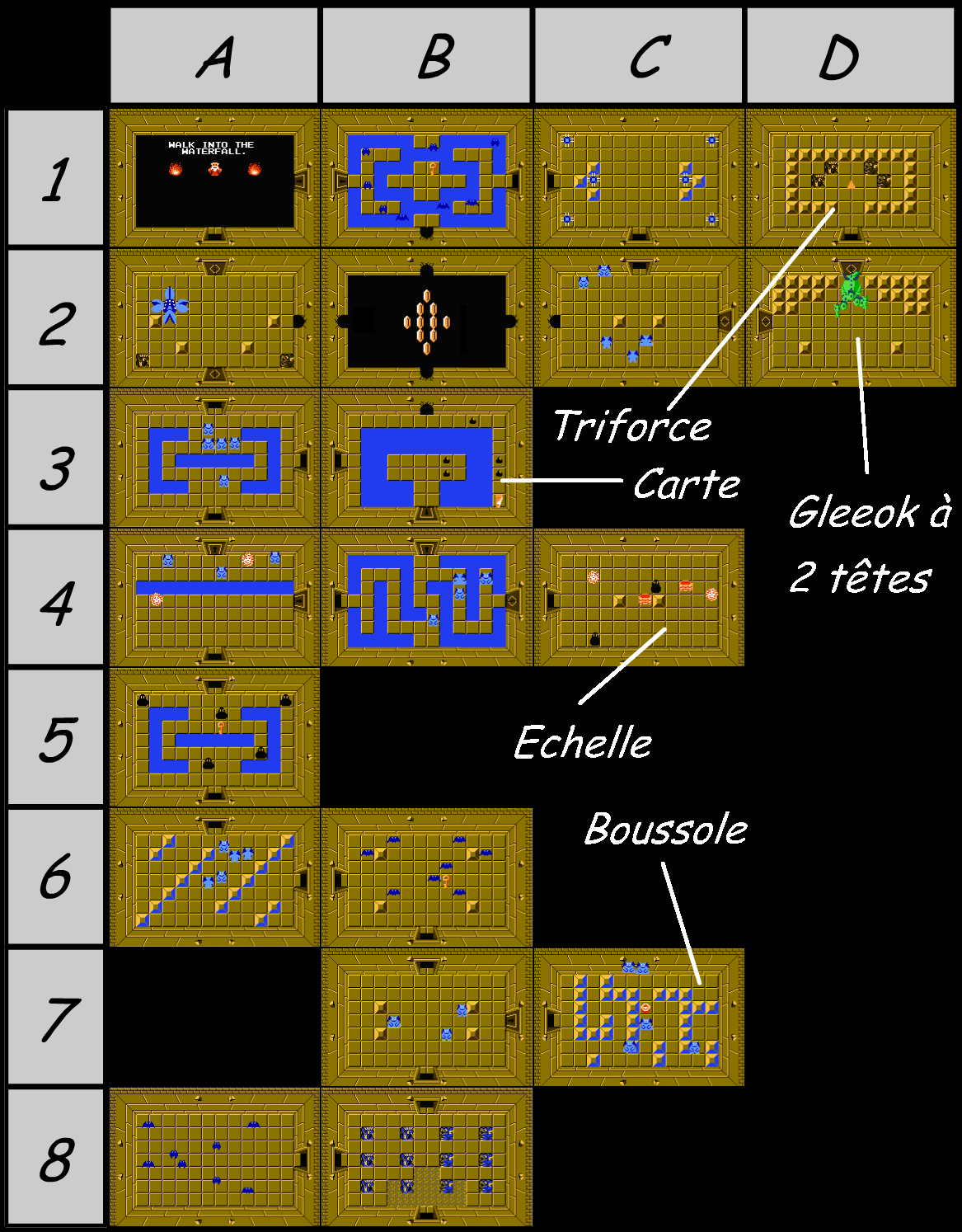 The legend of Zelda - Map of level 4 of quest 1 : Snake