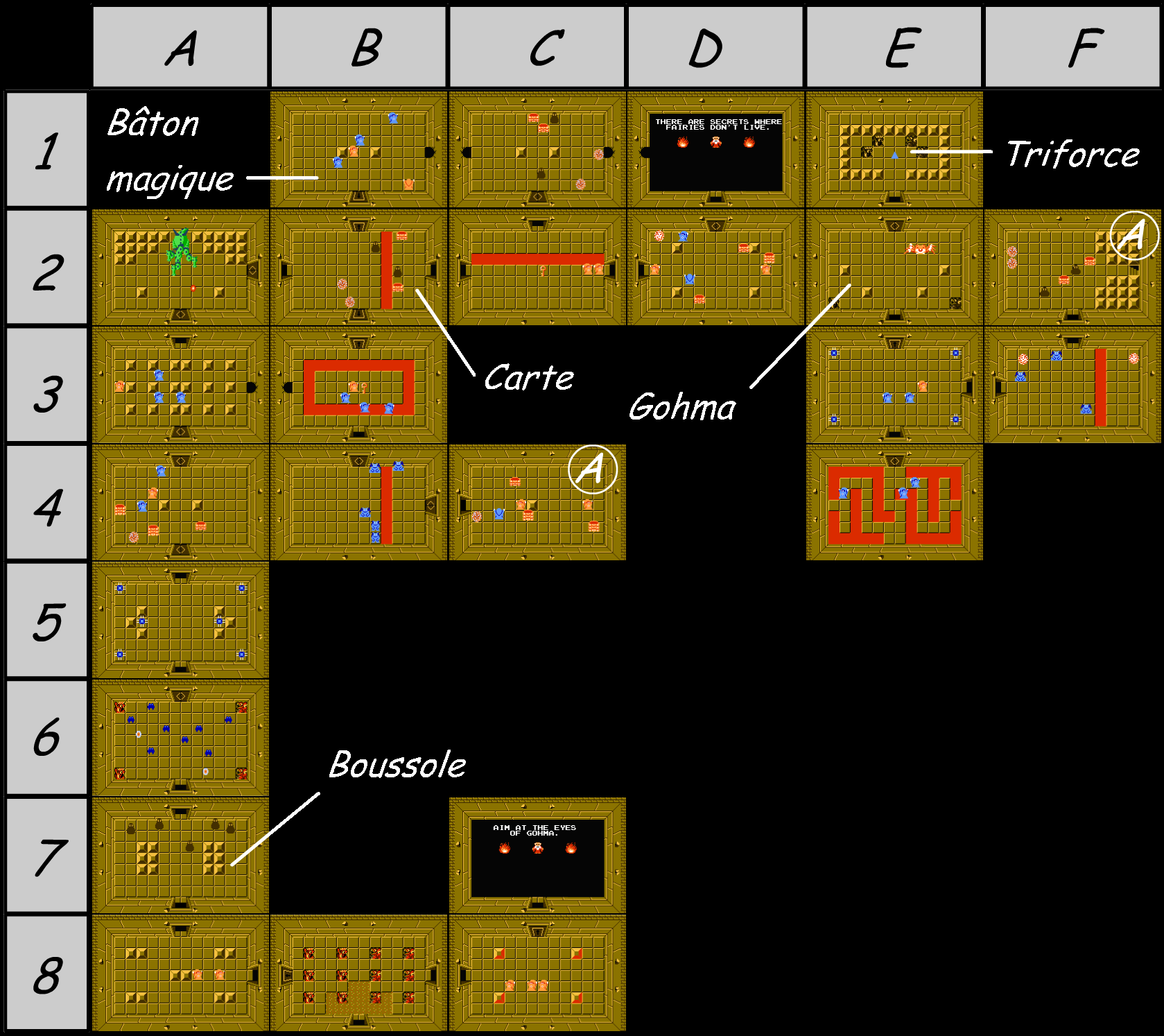 The legend of Zelda - Map of level 6 of quest 1 : Dragon (Zelda I