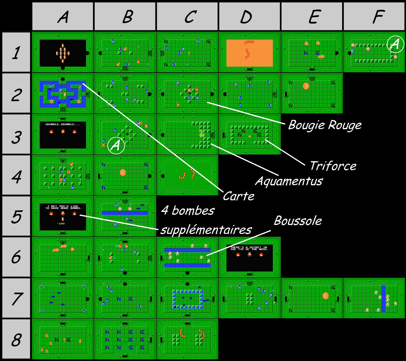 The legend of Zelda - Map of level 7 of quest 1 : Demon (Zelda I Nes ...