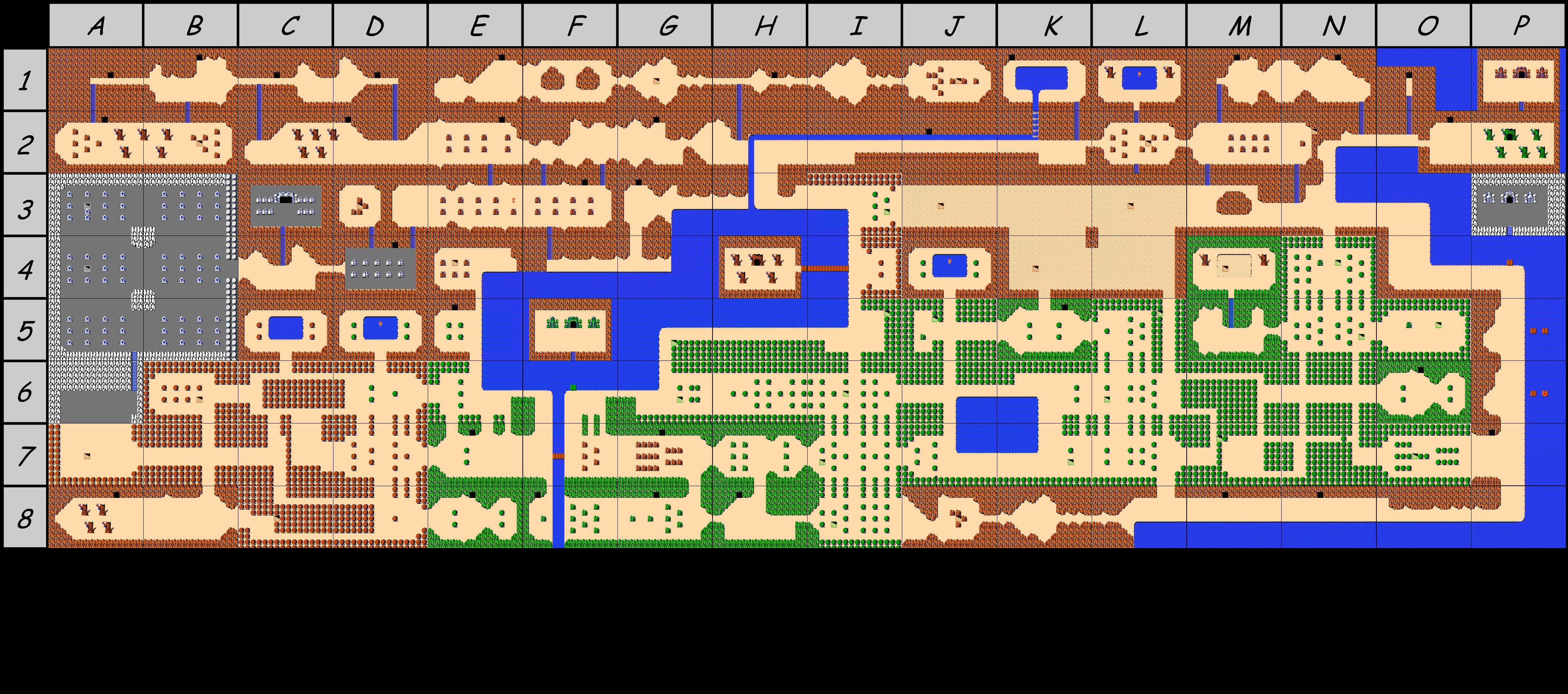 The legend of Zelda - Map of Overworld (Hyrule) of quest 2 (Zelda I ...